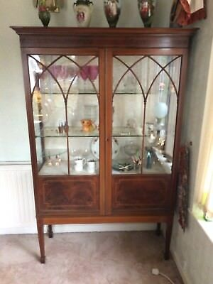 Edwardian Inlaid Mahogany China Cabinet