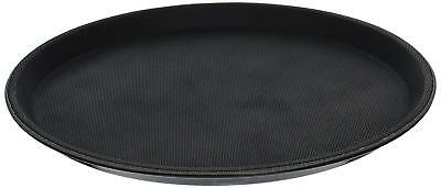"""Non Slip Round Plastic Serving Tray Black Single Durable High Quality Safe 11"""""""