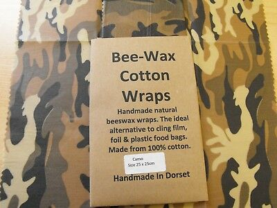 Perfect for kids Beeswax Wraps Natural Eco food wraps 25 x 25cm
