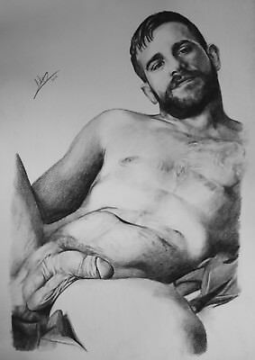 CLASSIC MALE NUDE 1 Gay interest DRAWING. RCA artist  A3 by Neil.