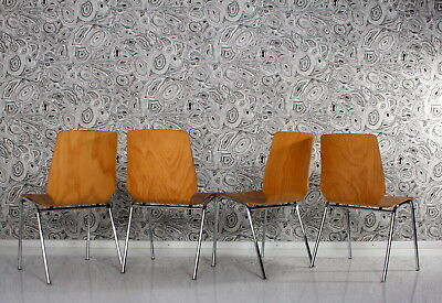 4 stuhl 70er STAPELstühle pagholz chairs pagwood chrome 70s bentwood blondwood