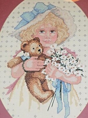 "Completed Cross stitch Needlepoint Framed Girl with Teddy Bear 18"" x 14"""