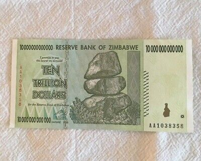 Reserve Bank Of Zimbabwe 10 Trillion Dollar 2008 Note