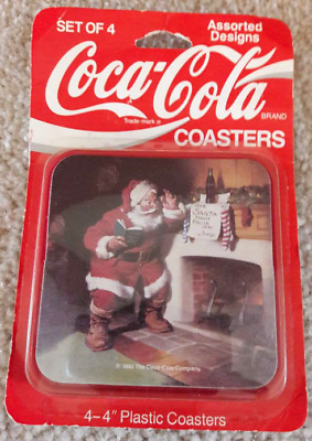 "Coca Cola Coasters Santa 4 x 4"" Square Plastic In Sealed Package 1992"
