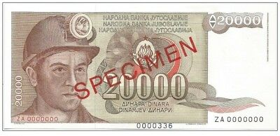 Yugoslavia 20.000 dinara 1987. UNC P-95 REPLACEMENT SPECIMEN zero numbered