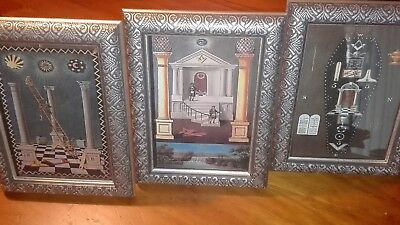 Masonic Tracing Board prints set of 3 in lovely silver coloured frames NEW