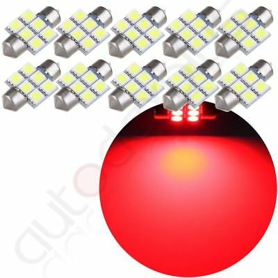 10x 6SMD 31mm 3022 Pure Red LED Festoon Lamps Car Interior Map Dome Cargo Lights
