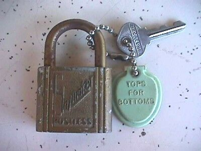 Vintage BRASS PADLOCK - SLAYMAKER Rustless with 1 original key