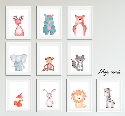 Watercolour Animal Prints For Nursery / Baby Bedroom Boys Girls Room Pictures A5