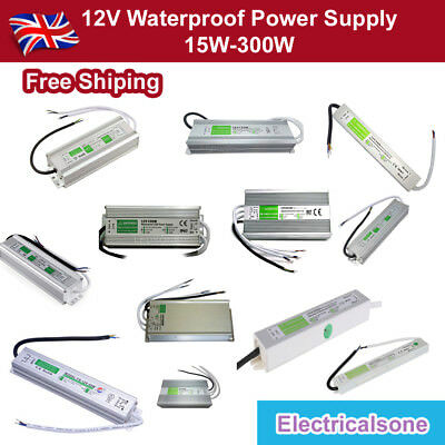 15W-300W-IP67 Waterproof LED Transformer Driver Power Supply for Strip DC 12V UK