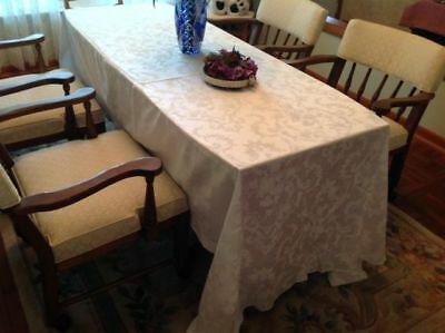 Antique Damask large tablecloth; 100 x 60; Germany; Swirls and Garlands