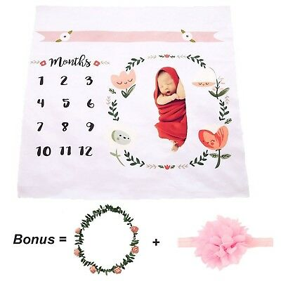 CAVN Monthly Baby Milestone Blanket Photo Props Shoots Backdrop ( Headband an...