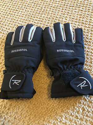 Rossignol Youth Size Large Snow Winter Gloves Black Gray Adjustable Wrist Strap
