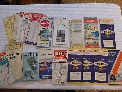 Lot of Several Vintage Road Maps