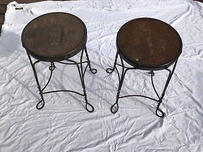 Vintage Antique Ice Cream Parlor Stool with Twisted Steel Legs - 2 Available