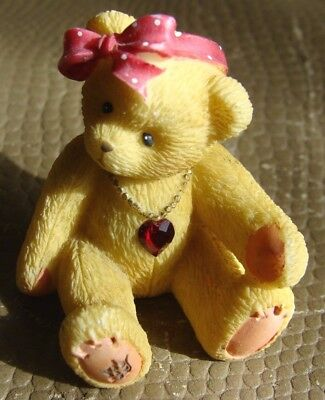 Cherished Teddies July Girl Miniature Bear w/ Red Gem Heart  Necklace - 1996
