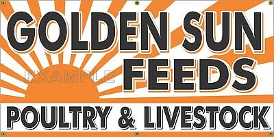Golden Sun Feeds Old Feed Store Sign Remake Printed Banner Barn Garage Art 2 X 4