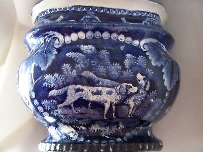 Dark Blue Historical Staffordshire Covered Sugar Hunting Dogs: AS IS Special!!