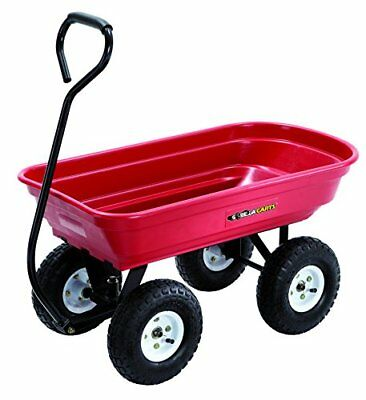 Red Garden Cart With Big Wheels Rolling Wagon Tool Outdoor Plants Yard Lawn  Care