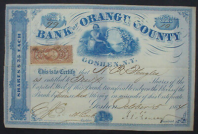 Bank of Orange County 10 Shares of 25 $ each Goshen October 1864