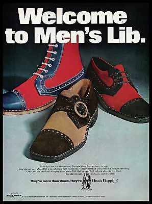1971 Wolverine World Wide Hush Puppies Shoes Mens Lib Vintage PRINT AD 1970s