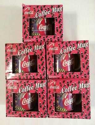 Coca-Cola Coffee Mugs Cups (5) Distributed by Play-by-Play New in Box