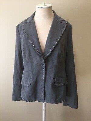 Motherhood Maternity Womens Gray Blazer White Stitching Size M
