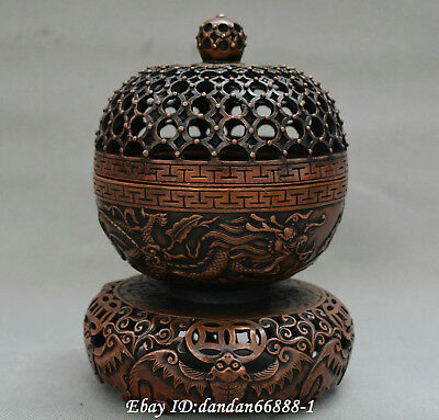 Collect Chinese old bronze carve two dragon play pearl bat money incense burner
