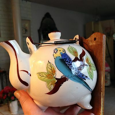 Vintage Ceramic Wall Mount TWO PARAKEETS  String Holder  TEAPOT SO DARLING TWEET