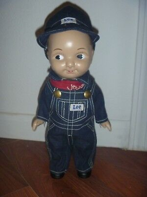 Rare Buddy Lee Plastic Farmer Overalls Jeans Gas Station Doll