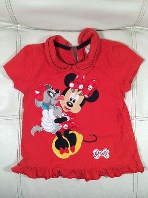 Disney Store Girls 3-4Y Minnie Mouse Dog Stitched Red Shirt