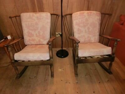 Pair of Solid Vintage Antique Oak Rocking Chairs