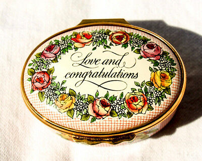 Halcyon Days English Enamels Love and Congratulations Trinket Box