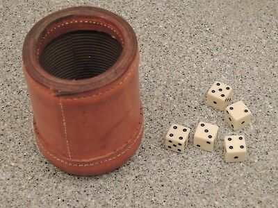Vintage Leather Bar Dice Cup Ribbed Interior plus Dice