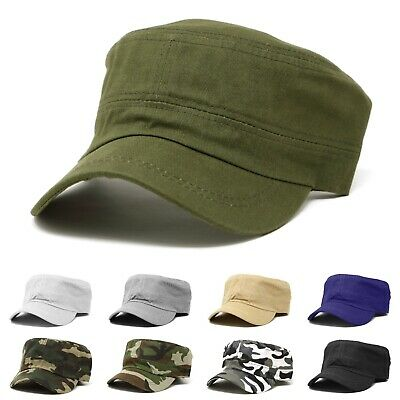 Classic Cotton Army Hat Military Cadet Patrol Style Plain Brim Spring Summer Cap
