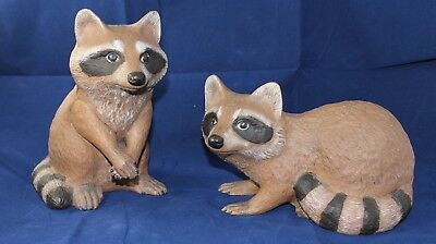 Pair of Hand-Crafted Ceramic Raccoons, Medium-Sized