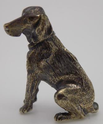 Vintage Solid Silver Italian Made RARE Dog Miniature, Figurine, Stamped