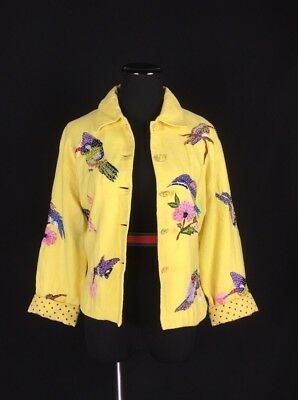 Vintage Women's Small Yellow Jacket Beaded Hummingbirds and Flowers Embroidery