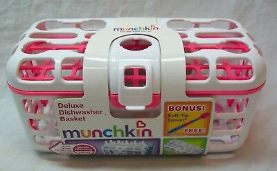 Munchkin DELUXE DISHWASHER BASKET White and Pink BONUS SPOON NEW