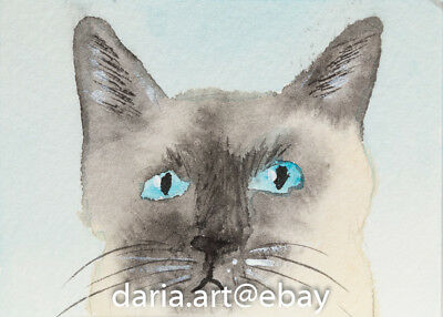 "ACEO Art GRAY KITTY CAT watercolor original 2.5x3.5"" Artist Daria T #293"