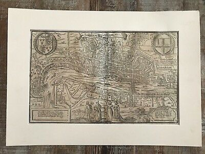 16th / 17th Century Woodcut Map of LONDON by Munster with Globe Theater £1 NR
