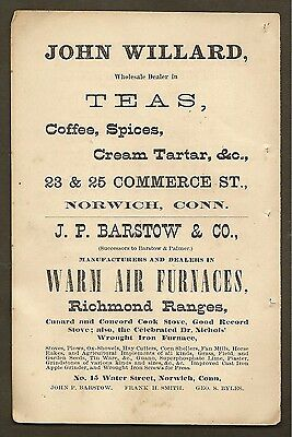 Vintage Ad For John Willard Teas And J.p. Barstow Furnaces Norwich, Ct 1877