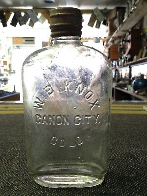 W.B. KNOX CANON CITY COLO Colorado 1/2 pint WHISKEY BOTTLE FLASK