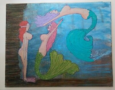 "3DBeccaArt Original Nude Artwork      Playful Surprise     8"" x 10"" Canvas Board"