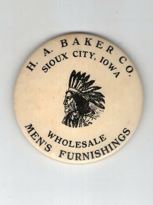 Antique Cello Pocket Mirror with Indian Head Adv. Sioux City IA Men's Clothing