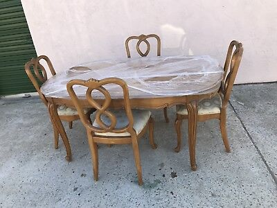 Vintage Walter Of Wabash Dining Table Set With Four Chairs And Extra Leaf