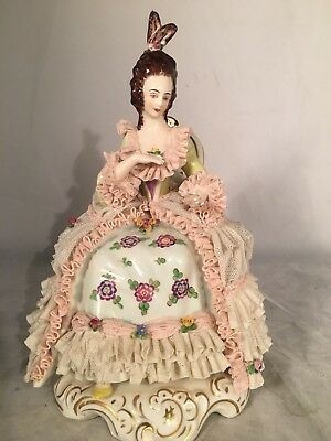 German DRESDEN Porcelain LACE FIGURINE Woman Seated Victorian Woman Pink Flowers