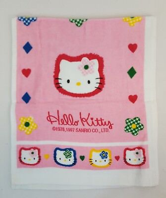 71fa6bd4403e Vtg 1997 Sanrio HELLO KITTY Pink ALL DECKED IN CHECKS 13x31 Hand Towel Rare  NEW