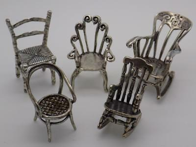 37g/1.3-oz. Vintage Solid Silver JOB LOT Chair Collections, Figurine, Stamped