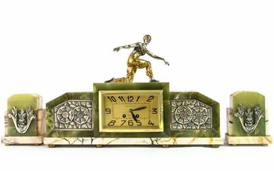1920 Art Deco Mantel Clock  With Plated Bronze Dancer Sculpture In Lavroff Style